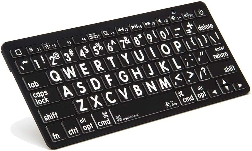 LogicKeyboard Large Print White Characters on Black Keys Bluetooth Mini Keyboard For Apple iPad and iPhone - Tablet not Included #LK-KB-LPWB-BTON - Black