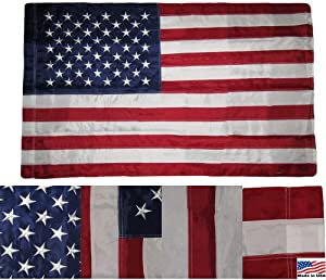 3x5 Embroidered USA American Pole Sleeve Nylon Flag 3x5 (Made in USA) Banners - Vivid Color and UV Fade Resistant - Prime Outside Garden Home Decor