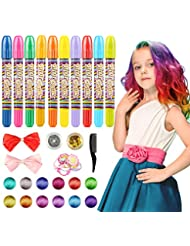 Hair Chalk, 10 Colors Hair Chalk Pens Set Non-toxic Washable Temporary Hair Dye for Kids Women And Teen- Best Birthday Christmas Halloween New Year Gifts for Girls Boys