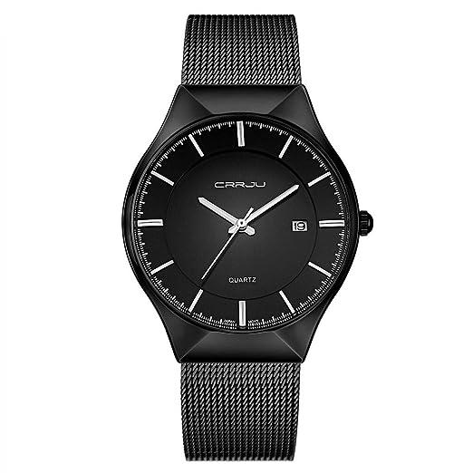86e18f6a59e27 CRRJU Watch Men s Ultra Thin Fashion Quartz Mens Watches Date Analog Wrist  Watches with Milanese Mesh
