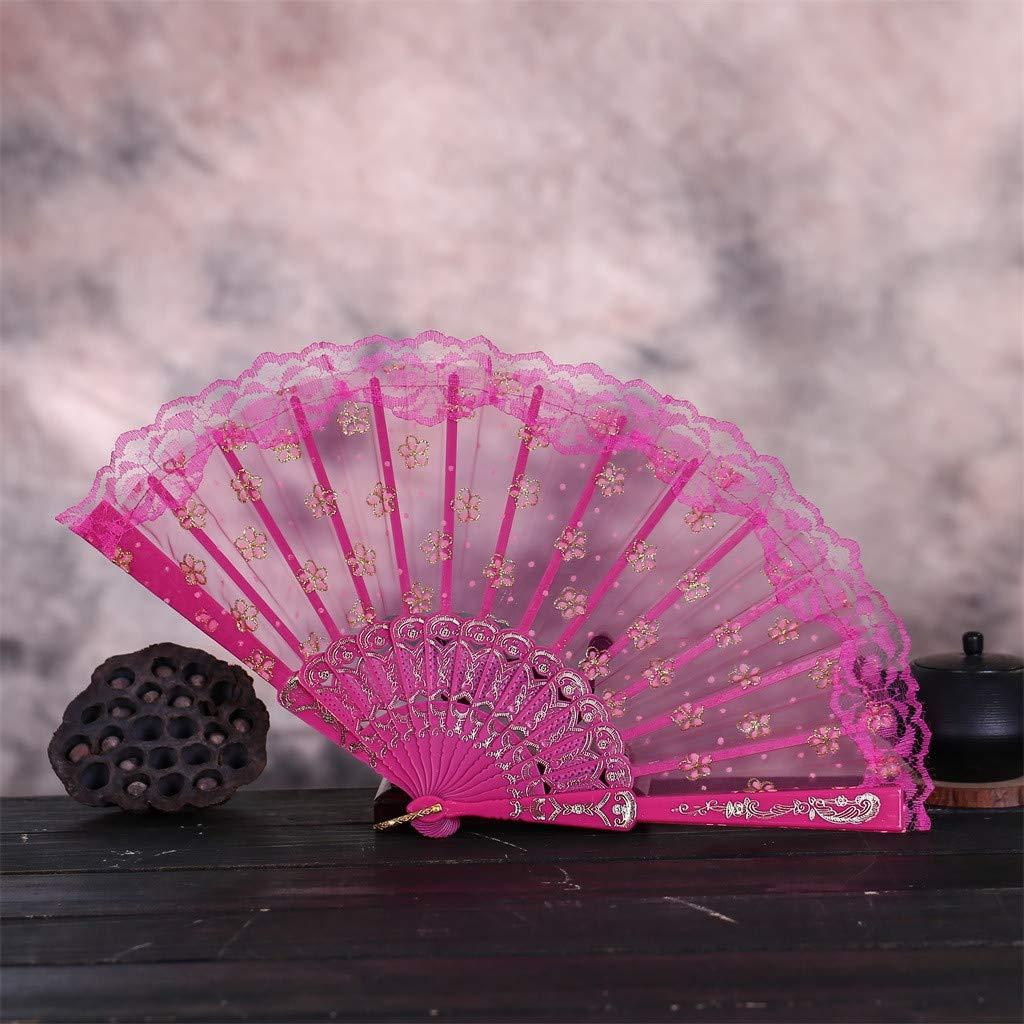 Misaky Chinese Style Best Dance Wedding Party Lace Silk Folding Hand Held Flower Fan