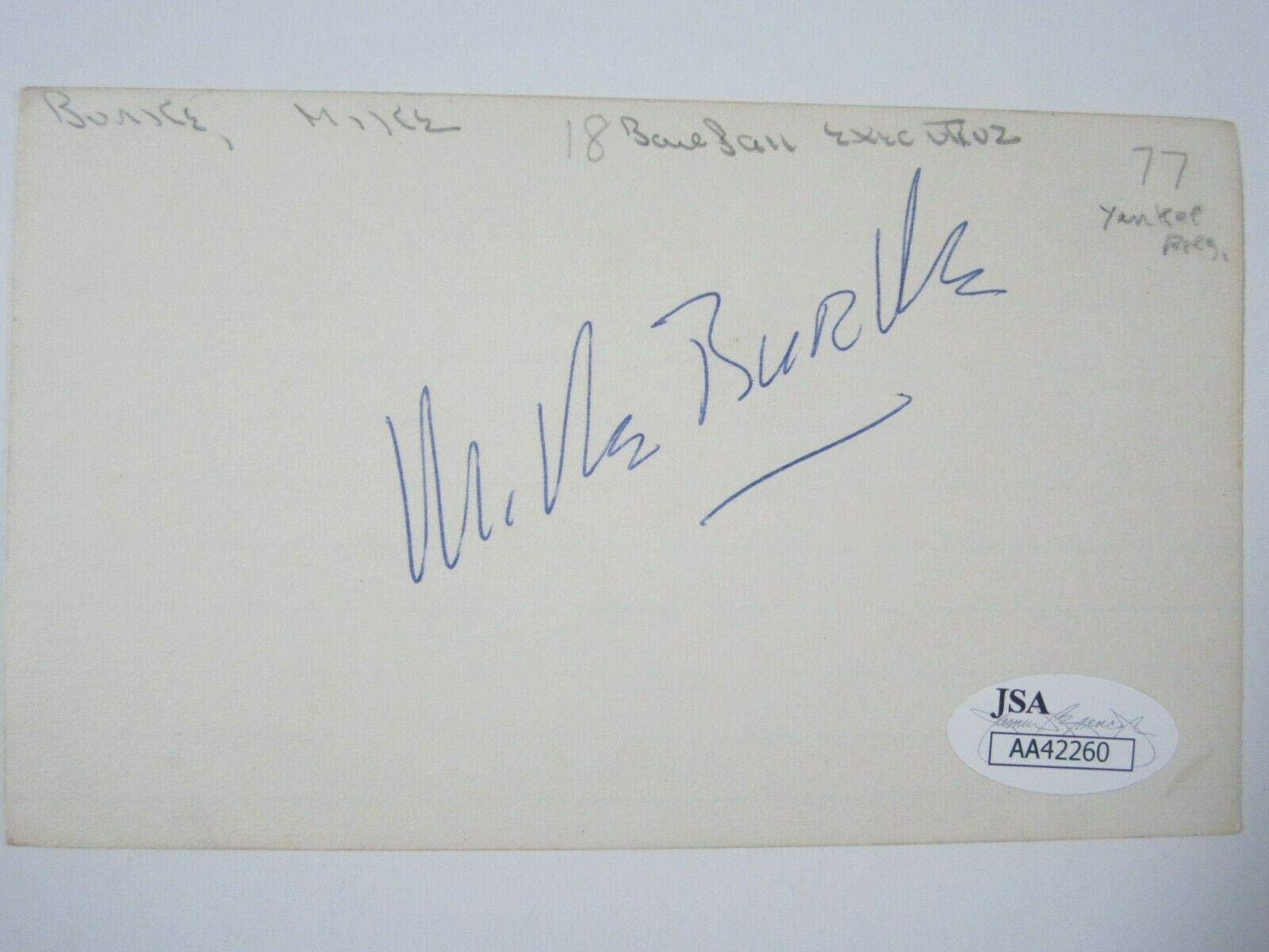 MIKE BURKE (NY Yankees President 1960 70s) Signed Autographed Index Card CoA JSA Certified MLB Cut Signatures