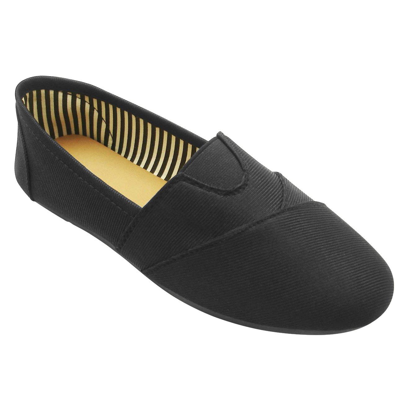 Best Casual Black Foam Sofft Round Toe Low Heel Lightweight Slip On Laceless Unisex Canvas Kung Fu Tenis Sport Beach Fashion Summer Shoe Sneaker for Women Size 9.5 Teen Girl Men (Size 8 Men, Black)