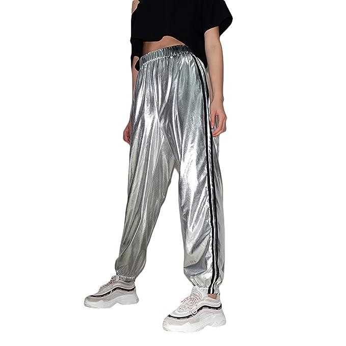 Hvzciuwrn Pantalones de Pierna Ancha de Rayas Reflectantes de Plata  Pantalones de Deportes de Piel Suave para Mujer  Amazon.es  Ropa y  accesorios 3720d8dc9e33