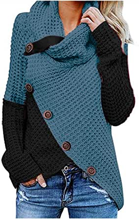 Jerseys De Punto para Mujer Cuello de Tortuga Manga Larga Suelto Prendas de Punto Suéter Irregular Contraste Chaqueta de Color Tops Cálido Otoño Invierno riou