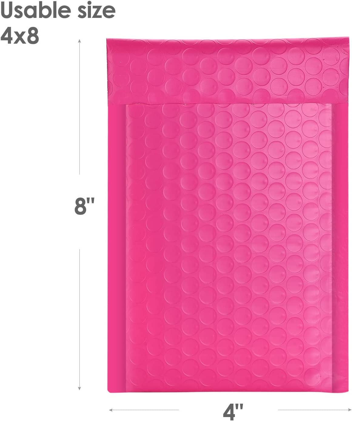 Metronic 50pcs Poly Bubble Mailers 4x8 Inch Padded Envelopes #000 Bubble Lined Poly Mailer Self Seal Pink