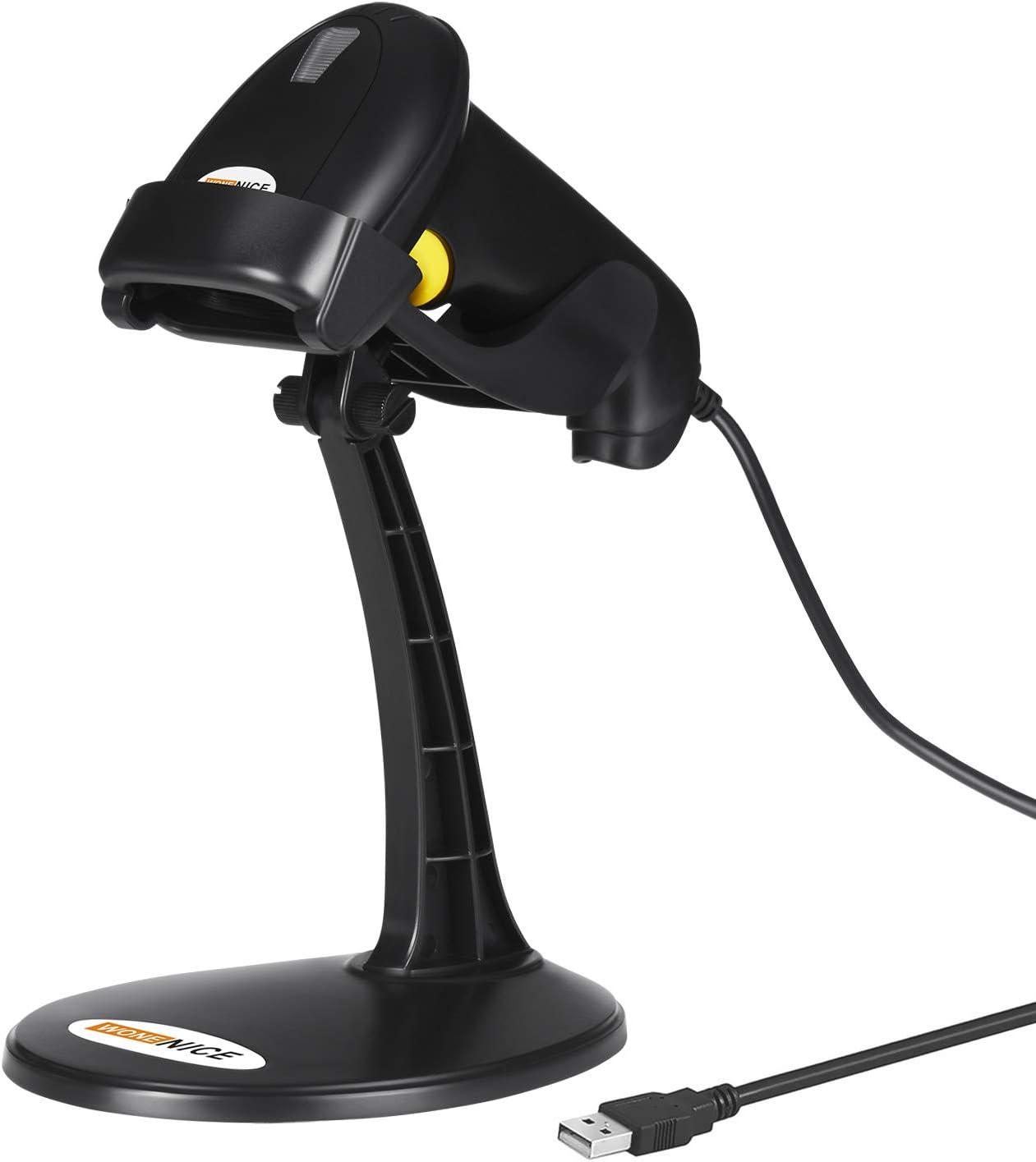 WoneNice Barcode Scanner with Stand, Handheld Automatic Laser USB Barcode Scanner Bar-Code Reader, Black