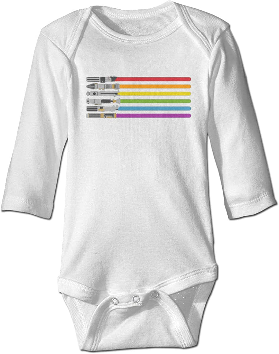 Marsherun Infant Babys Boys Girls Lightsaber Rainbow Long-Sleeve Bodysuits Playsuits