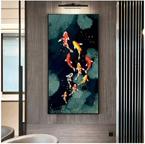 Canvas Art Prints Painting Gold Abstract Feng Shui Koi Fish Picture Modern Decor