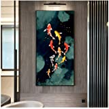 no Frame Koi Fish Feng Shui Carp Lotus Pond Pictures Canvas Painting Wall Art for Living Room Modern Home Decor 50x100cm Modern Abstract 19.7x39.4in