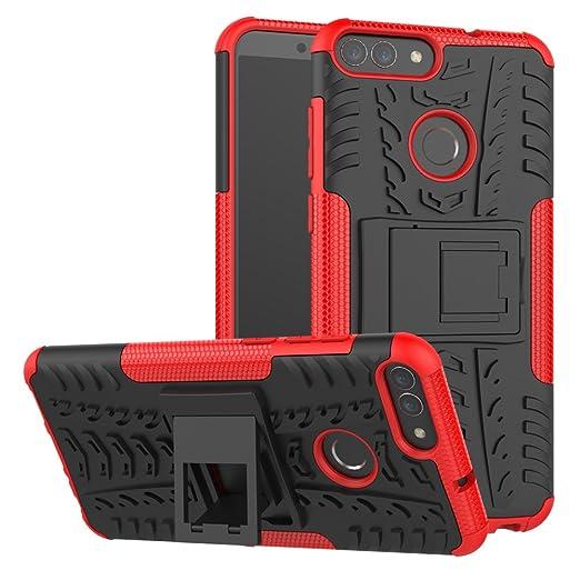 XINYUNEW Funda Huawei P Smart, 360 Grados Protective+Pantalla de Vidrio Templado Caso Carcasa Case Cover Skin móviles telefonía Carcasas Fundas para ...