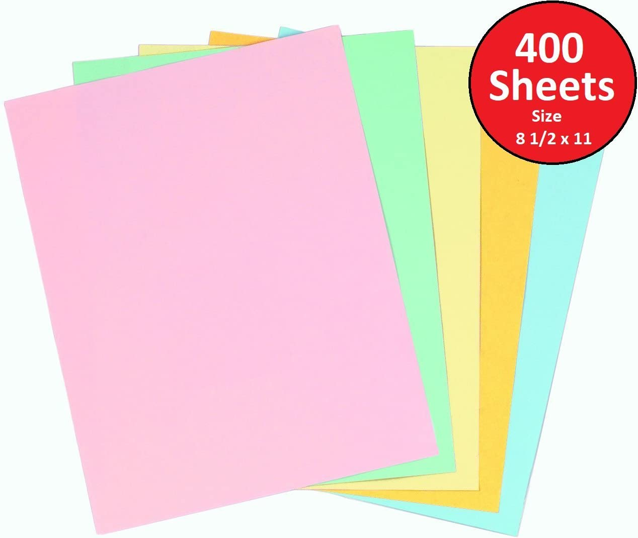 1InTheOffice Pastels Colored Copy Paper, Assorted, 8.5 x 11 inch Letter Size, 20lb Density, (400 Sheets)