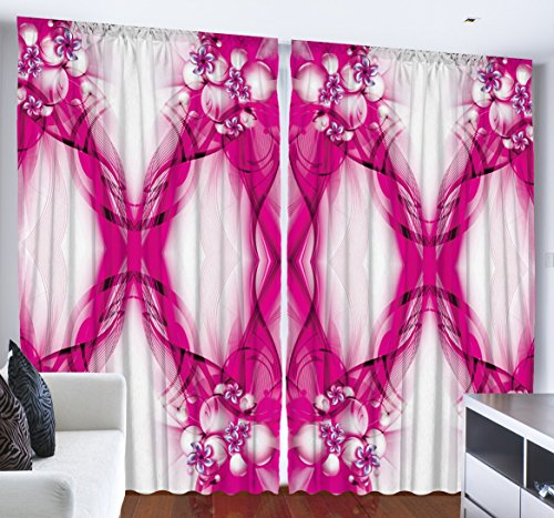Havana Living Room Set (Hot Pink Curtains Decor by Ambesonne, Geometric Floral Design Pansy Flowers Art Print, Bedroom Living Room Curtain 2 Panels Set, Creative Home 108 X 84 Inches, Beige)