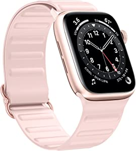 LANGXIAN Compatible with Apple Watch Bands 38MM 40MM Stretchy Solo Loop Strap,Adjustable Elastic Silicone Wristband Compatible for iWatch Series 6/5/4/3/2/1/SE [Pinksand]