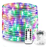 Splink LED Rope Lights String Lights with Remote Timer, 8 Mode Dimmable Firefly lights for Christmas Wedding Party Garden Outdoor/Indoor Decorative, Waterproof IP67, Battery Powered(10m 100 LEDs)