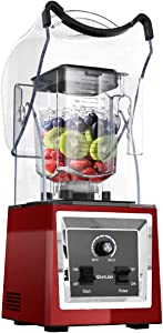WantJoin Professional Quiet Blender, Commercial Smoothie Blenders Countertop Blender with Shield Sound Enclosure,Multifunctional,Speed Control,Self-Cleaning (Red)