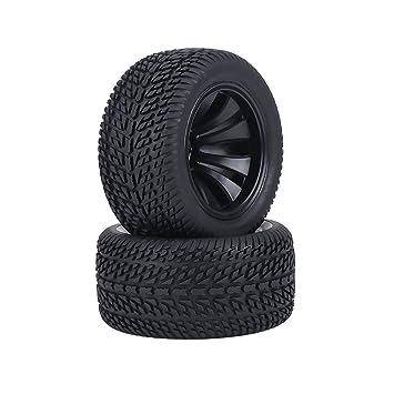 Dilwe 2Pcs RC Neumáticos del Coche, Neumáticos de Goma y Rueda de Cubos de Plástico para 1:12 RC Coche Racing Coche Truck: Amazon.es: Juguetes y juegos