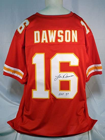 Image Unavailable. Image not available for. Color  Signed Len Dawson Jersey  - Custom Red Hof - JSA Certified - Autographed ... a1aa142bc