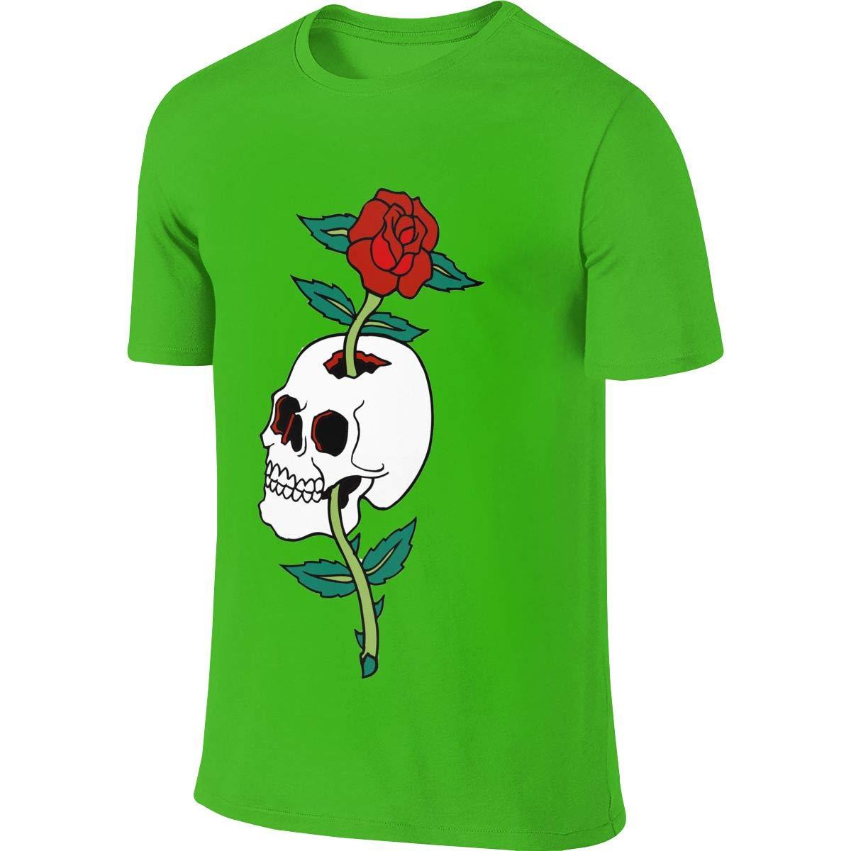 UauhOllxigm Skull Roses Mens Cotton Round Neck Short Sleeve T-Shirts