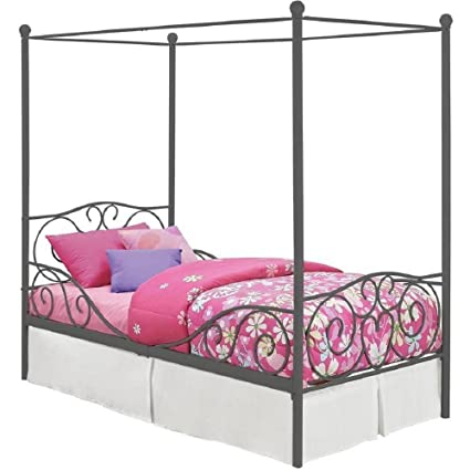 Amazon.com: Girl\'s Grey Metal Canopy Bed Twin Sized Princess Gray ...