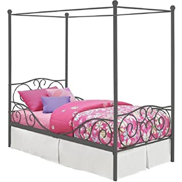 Girl s Grey Metal Canopy Bed Twin Sized Princess Gray Frame Vintage Antique  French Country Victorian Style. Amazon com  Girl s Grey Metal Canopy Bed Twin Sized Princess Gray