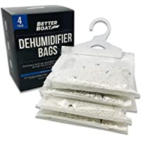4 Pack Boat Dehumidifier Moisture Absorber Hanging Bags and Charcoal Deodorizer Remove Damp Musty Mold Smell | Basement Closet Home RV or Boating