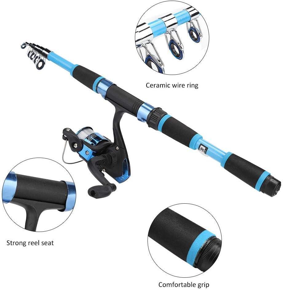 Alomejor Angelruten-Kit Tragbare Teleskop-Angelruten und Rollen-Kombinationen ABS-Angelrute mit vollst/ändigen Kits f/ür Reise-Salzwasser-S/ü/ßwasser