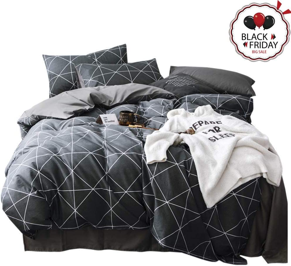 VCLIFE Cotton Bedding Duvet Cover Twin Bedding Sets, Soft Geometric Gray Black Pattern Print, Wrinkle Fade & Stain Resistant, Lightweight - Zipper Closure, 4 Corner Ties