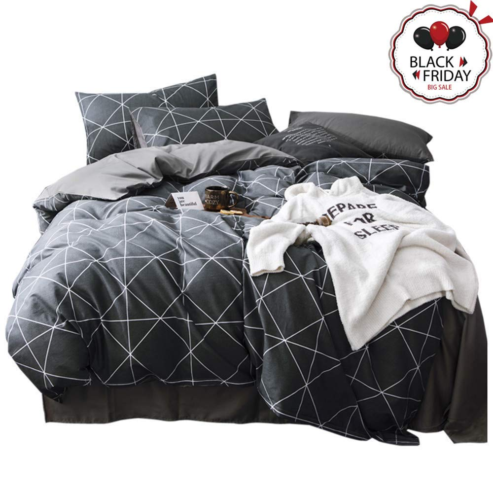 "VCLIFE Queen Black-Gray Duvet Cover Sets Modern Plaid Geometric Printed Bedding Sets - 100% Cotton Boy Man Comforter Cover Sets, Luxurious Soft, Wrinkle, Fade, Stain Resistant, 90""x90"", Queen"