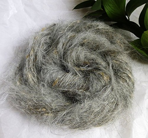 Silver Gray Brushed Mohair with Cream Slubs ()