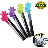 Shindel 5 inch Mini Tongs /Ice Tongs With Perfectly designed Silicone Hand Shape Tongs Best Kitchen gadgets, 4 PCS