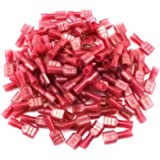 Yueton 100pcs Red 22/18- Gauge Nylon Female Fully-Insulated Quick Disconnects Wiring Spade Wire Crimp Terminal