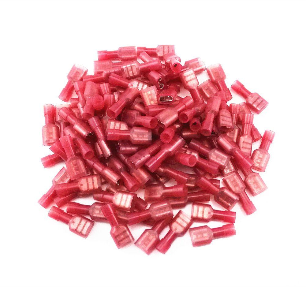 Yueton 100pcs Red 22 18 Gauge Nylon Female Fully Insulated Quick Disconnects Wiring Spade Wire Crimp Terminal