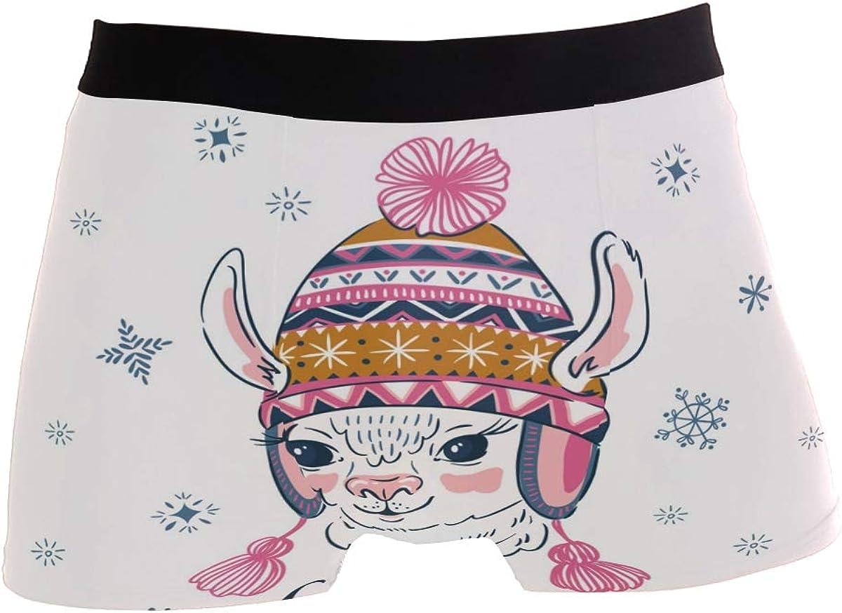 SUABO Mens 2-Pack Boxer Briefs Polyester Underwear Trunk Underwear with Alpaca with Hat Design