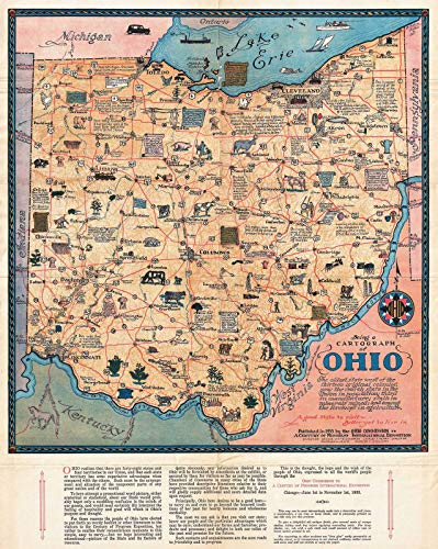 Historical 1933 Sewah Studios Pictorial Map of Ohio (The Chicago World's Fair) |24 x 30 Fine Art Print | Antique Vintage -