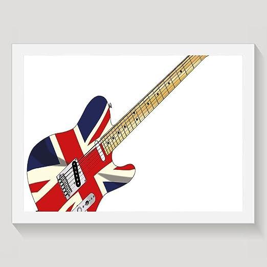 Guitarra eléctrica clásica con la bandera de Reino Unido de Haixia ...