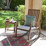 Cheap Caleb Outdoor Acacia Wood Rocking Chair with Water Resistant Cushion (Grey Finish/Grey)
