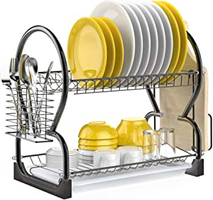 Dish Drying Rack, iSPECLE 2 Tier Dish Rack with Utensil Holder, Cutting Board Holder and Dish Drainer for Kitchen Counter Top, Plated Chrome Dish Dryer Black
