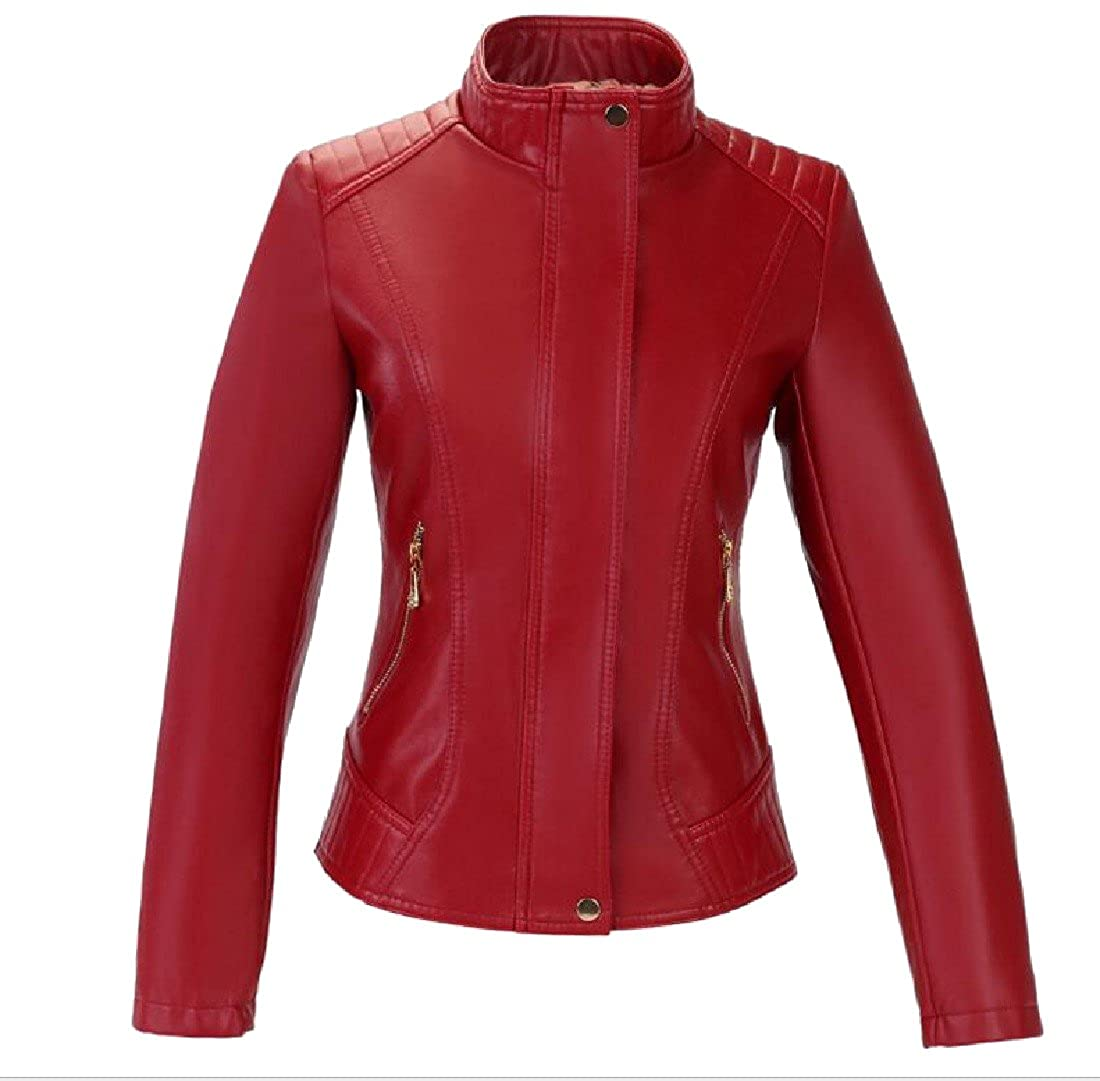 Colourful Womens Stand Collar Leather Jacket Short Solid Motorcycle Coat