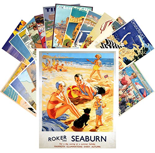 Postcard Set 24 cards Vintage Travel Posters Beach Holidays
