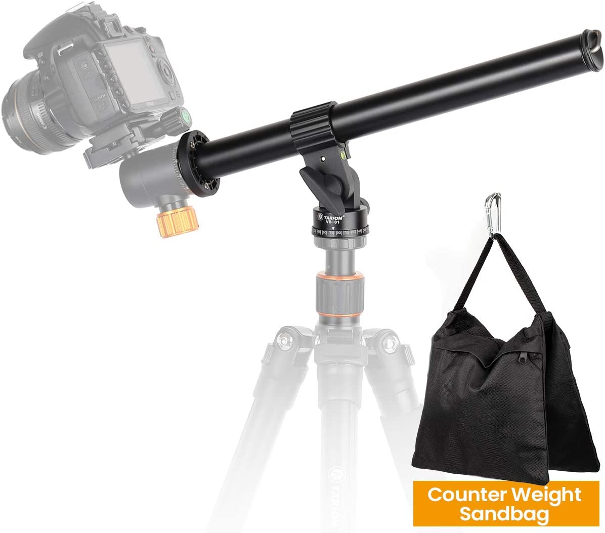 "TARION Tripod Extension Arm Horizontal Centre Column Boom 12.6"" Extender 360° Rotatable Aluminum Alloy Swivel Lock with Counterweight Sandbag for Overhead Photography and Filming"