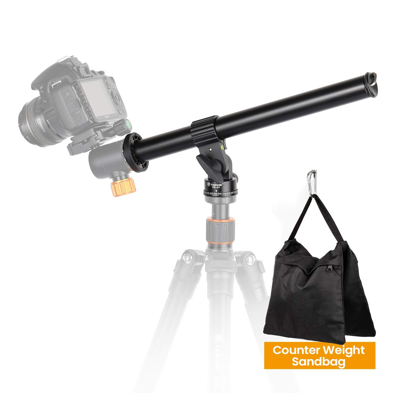 TARION Tripod Extension Arm Horizontal Centre Column Boom 12.6'' Extender 360° Rotatable Aluminum Alloy Swivel Lock with Counterweight Sandbag for Overhead Photography and Filming by TARION