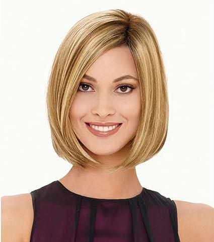 aukmla Pelucas De Pelo Corto de la mujer rubia Bob peluca de pelo sintético resistente al