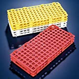 Globe Scientific Rack, 128 place, PP, red, for 1.5mL microcentrifuge tube - GLO