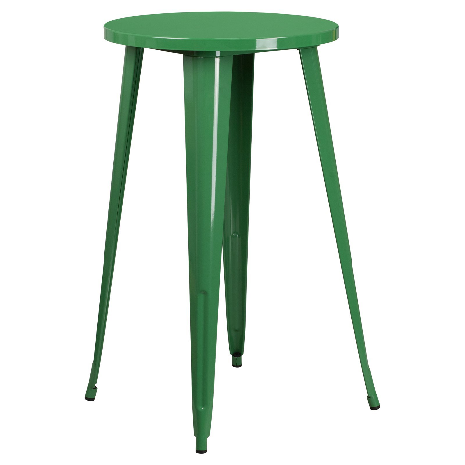 Basic Round Metal Indoor/Outdoor Bar Height Table with Protective Rubber Feet to Prevent Floor Damage, Thick Brace Underneath for Added Stability, Green + Expert Home Guide by Love US