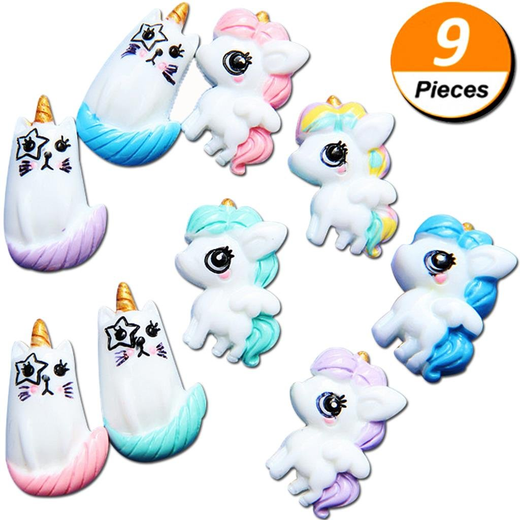 PartyYeah 9Pcs Unicorn Cat Slime Charms Resin Flatback, Ultra Slim Sweety Candy Color Girls Silicone Phone Decor, Diy Homemade Decor Craft Making Slime Beads For Ornament Scrapbook Diy Crafts