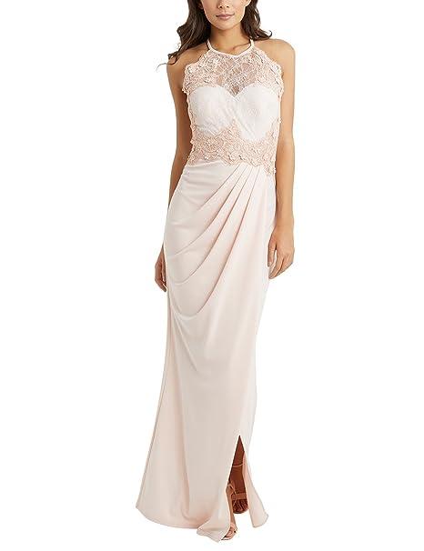 21ca23b95b LIPSY Women 3D Floral Detail Maxi Dress Nude US 2 (UK 6): Amazon.ca ...