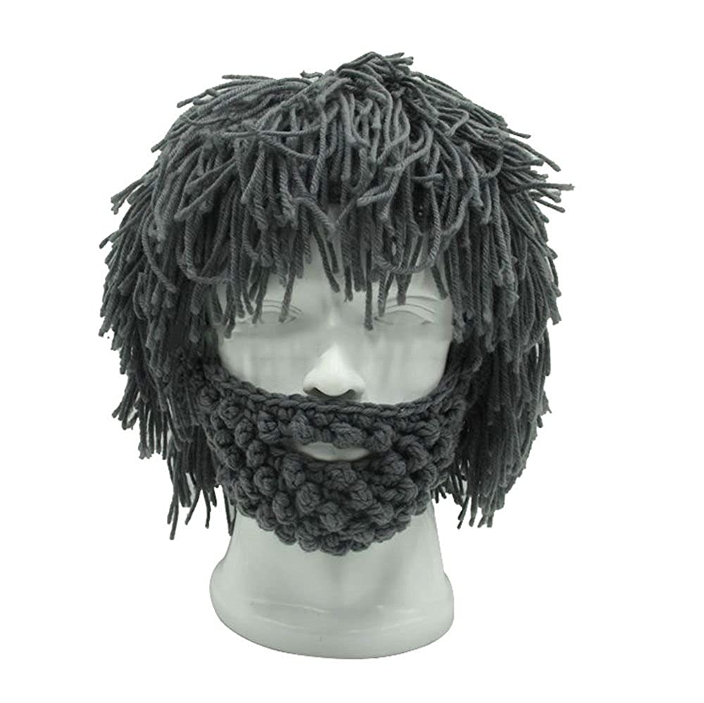 Amazon.com: VANKER Hip-hop Men Hobo Wig Beard Knit Crochet Caveman Design Hat Black: Clothing