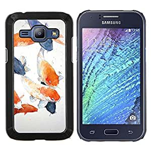 Eason Shop / Premium SLIM PC / Aliminium Casa Carcasa Funda Case Bandera Cover - Painting Blue Orange Lagoon - For Samsung Galaxy J1 J100