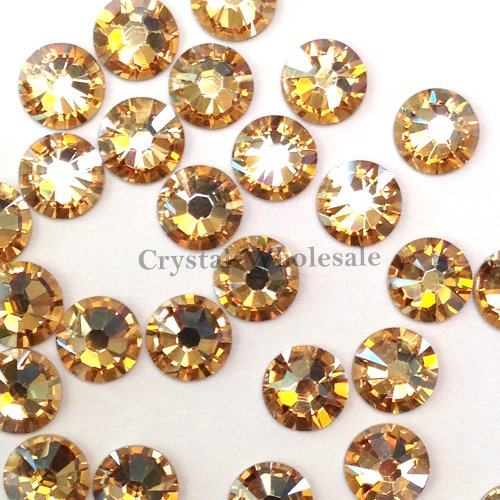 (144 Swarovski 2028 / 2038 16ss HOTFIX crystal flatbacks ss16 CRYSTAL GOLDEN SHADOW A HF)